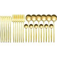RUIMING Conjunto de talheres de espelho de ouro de 24 peças, conjunto de louça de aço inoxidável, dourado talheres…