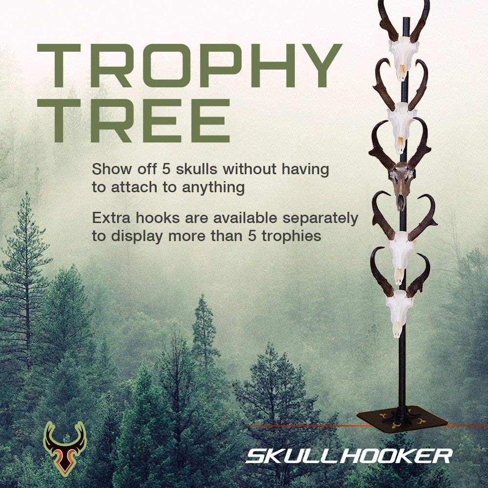 Skull Hooker Trophy Tree European Trophy Mount - Hang up to 5 Taxidermy Deer Antlers and other Skulls for Display - Graphite Black by Skull Hooker (Image #3)