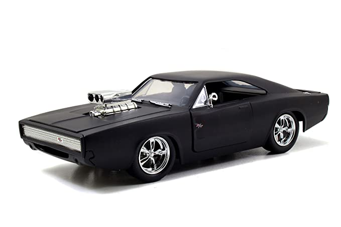 Jada Toys Fast & Furious F7- Dom's 1970 Dodge Charger Street Matte Black  Die-cast Collectible Toy Vehicle