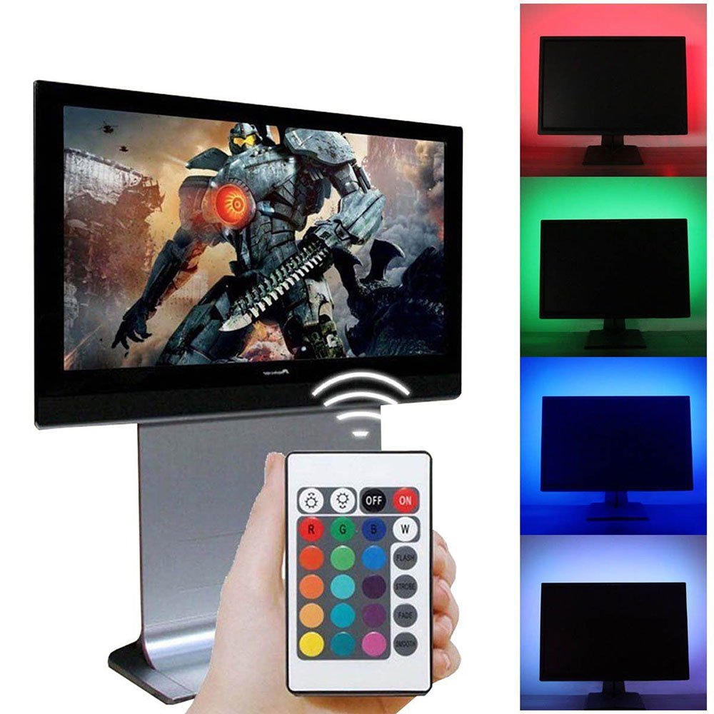 Huayang USB LED TV Backlight 20' | DC 5V | 3528 RGB LED Strip Lights Tape Self Sticky Sync Off/On with TV + 24 Key Remote Controller, White Light Huayang930185