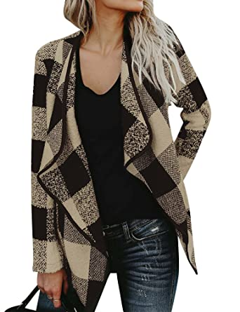 f79fd831475 WLLW Women Open Front Plaid Cardigan Drape Coat Wool Blends Coat Outerwear  Wrap Khaki