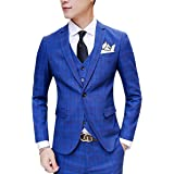 YUNCLOS メンズスーツ セット スリーピース カジュアルスーツ スーツ メンズ ビジネススーツ ベスト ファーマル チェック おしゃれ ジャケット 大きいサイズあり 卒業式 グリーン ブルー
