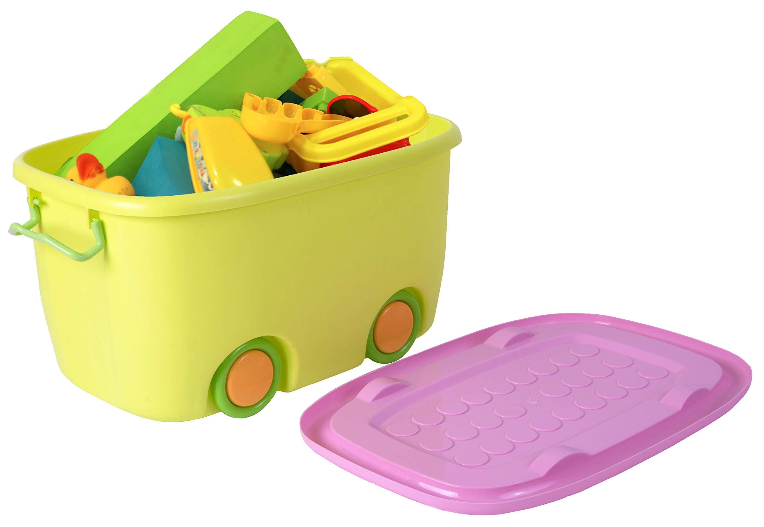 Stackable Toy Storage Box with Wheels (Small Yellow)