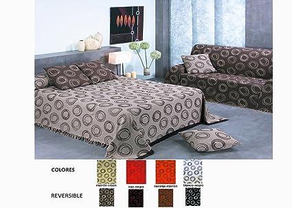 HIPERMANTA Colcha Foulard Multiusos Jacquard Modelo Ondas para sofá y para Cama, Algodón-Poliéster, 180x280 cms. Rojo-Negro. Colores Reversibles.