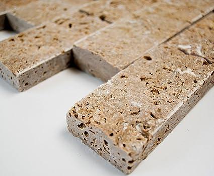 Rete mosaico mosaico piastrelle brick splitface noce travertine d