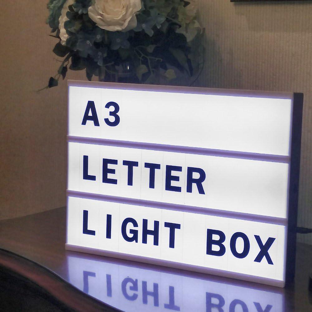 Personalizable Cinematográfica Luz LED Caja de Luz A4 con 90 Cartas, Números y Símbolos , DIY Cinemático Llevó Light Box y Batería Operado, USB Interfaz LED Light Pad Combinación Libre para Crear