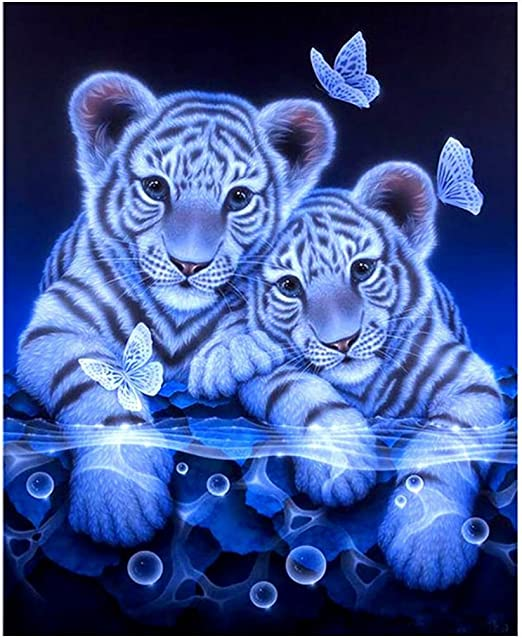 5D DIY Tiger /& Butterfly Magic Circle Diamond Painting Living Room Bedroom U