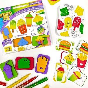 Imagimake Stamp Art Food – Coloring & Stamping Set – for Girls & Boys 3 Years +