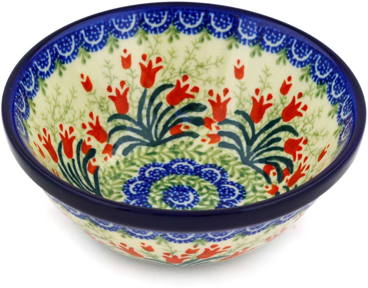 Polish Pottery Bowl 5-inch Sprouting Tulips