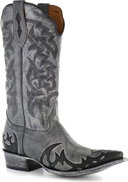 28d5b03e Moonshine Spirit Men's Distressed Grey Cowboy Boot Snip Toe Black 8.5 D(M)  US