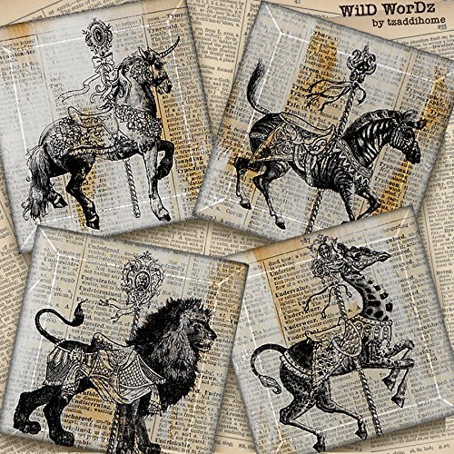 Carousel Animal Coasters from Upcycled Dictionary page book art - 4 or 5 in Square -WilD WorDz- Handmade Glass Coaster Set CaRouSeL No. 1