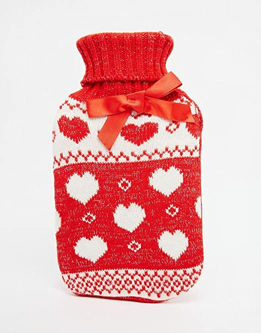 NPW Winter Warmer Heart Fair Isle Sweater over Hot Water Bottle 750ml