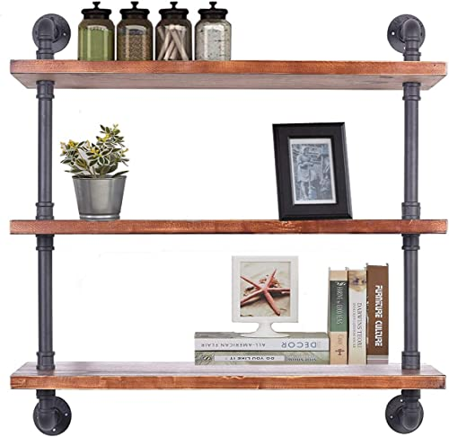 Diwhy Industrial Pipe Shelving Bookshelf Rustic Modern Wood Ladder Storage Shelf 3 Tiers Retro Wall Mount Pipe Design DIY Shelving Black, L 36