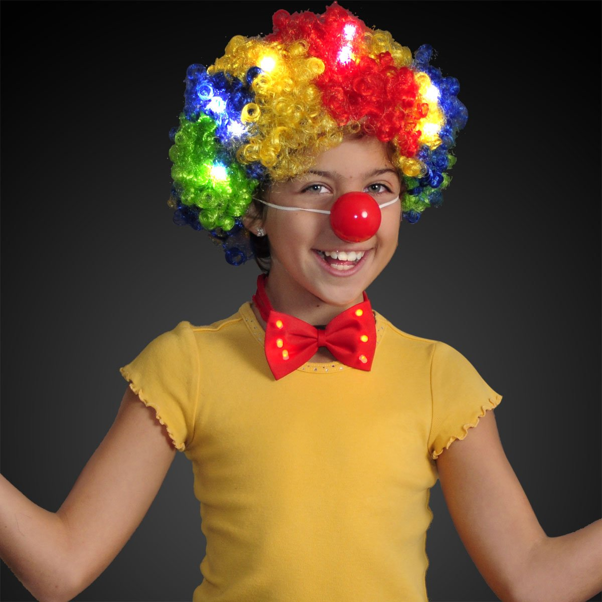 Curly Rainbow Clown Wig with Flashing LEDs