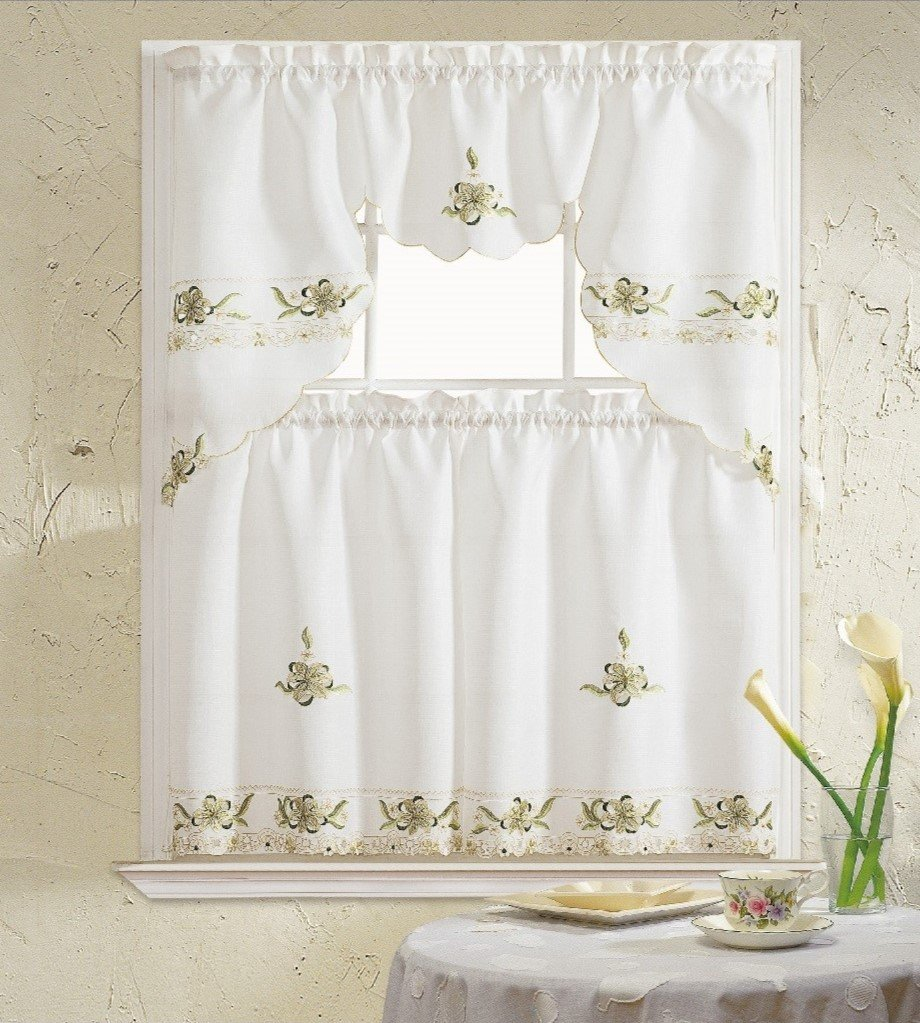 B&H Home Aster Floral Embroidered 3-Piece Kitchen Curtain Window Treatment Sage