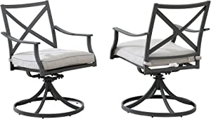 """Amazon Brand - Ravenna Home Archer Steel-Framed Outdoor Patio Swivel Dining Chairs, Set of 2, 35""""H, Gray"""