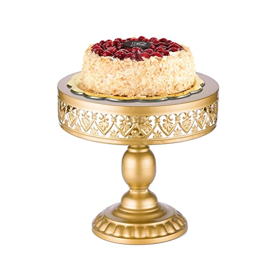 Amazon.com | 18K Gold Antique Metal Cake Stand, Round Cupcake Stands ...