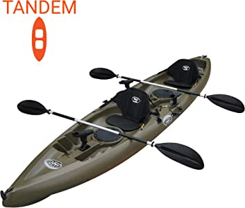 BKC TK181 12.5' Tandem Sit On Top Kayak W/ 2 Soft Padded Seats, Paddles,7 Rod Holders Included 2 Person Kayak