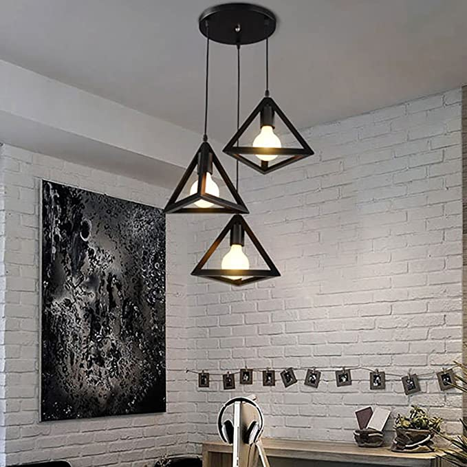 LEDIARY Vintage Iron Triangular Pendant Light Industrial ...