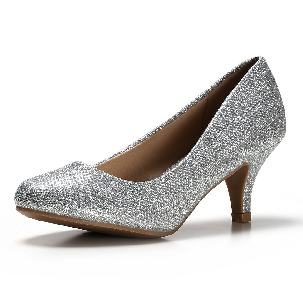 STELLE Womens's Classic Low Heels Pump Shoes for Party, Wedding, Bridal, Formal Office(9M, Silver Glitter)