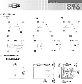 Amazon.com: Song Chuan 896H-1CH-C-R1-U03, 12VDC SPDT 50A 12V Socket