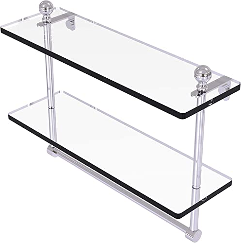 Allied Brass MA-2 16TB Mambo Collection 16 Inch Two Tiered Integrated Towel Bar Glass Shelf, Polished Chrome