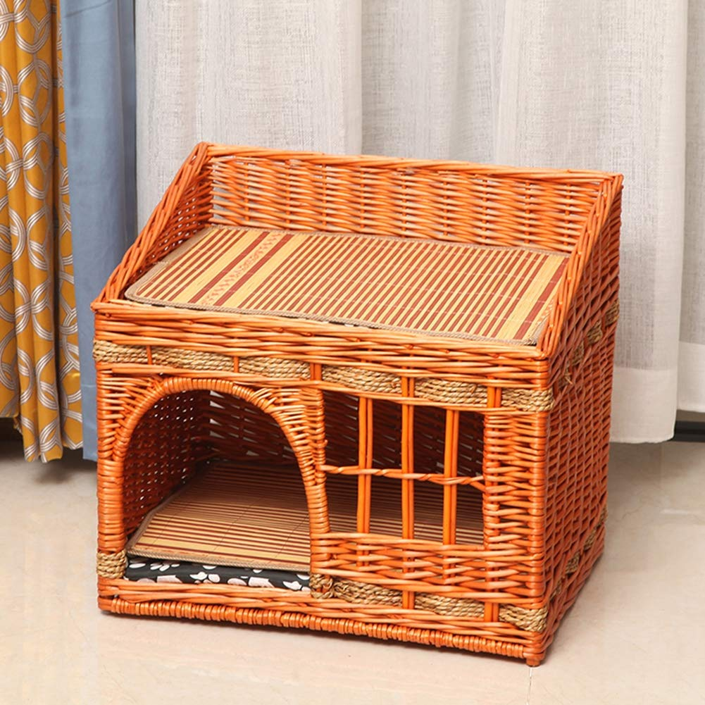 Honeycolor No.2YANGYONGLI Pet Bed Dog Beds Sleeping Bag Cat Beds Pet House Cartoon Rattan Summer Manual Environmental Predection Closed,brown,No.4