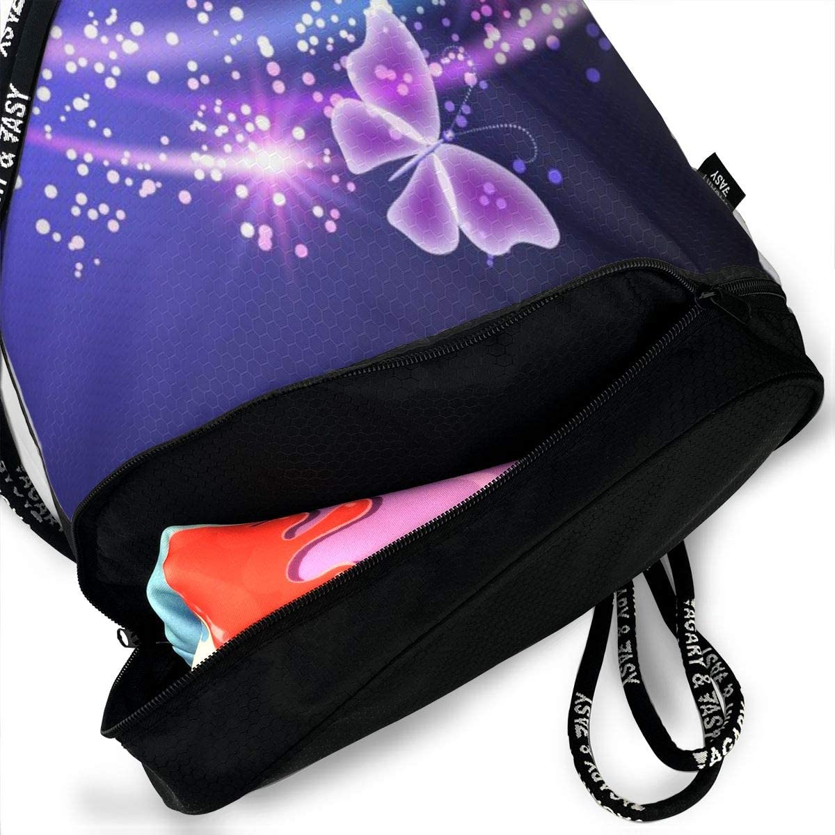 GymSack Drawstring Bag Sackpack Flying Butterfly Sport Cinch Pack Simple Bundle Pocke Backpack For Men Women