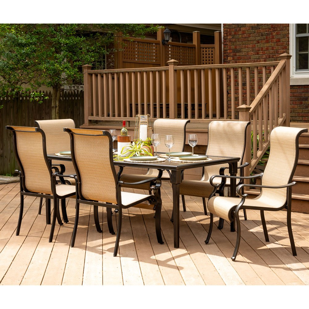 Amazon com hanover brigdn7pc gls p brigantine 7 piece glass top table outdoor patio dining set garden outdoor