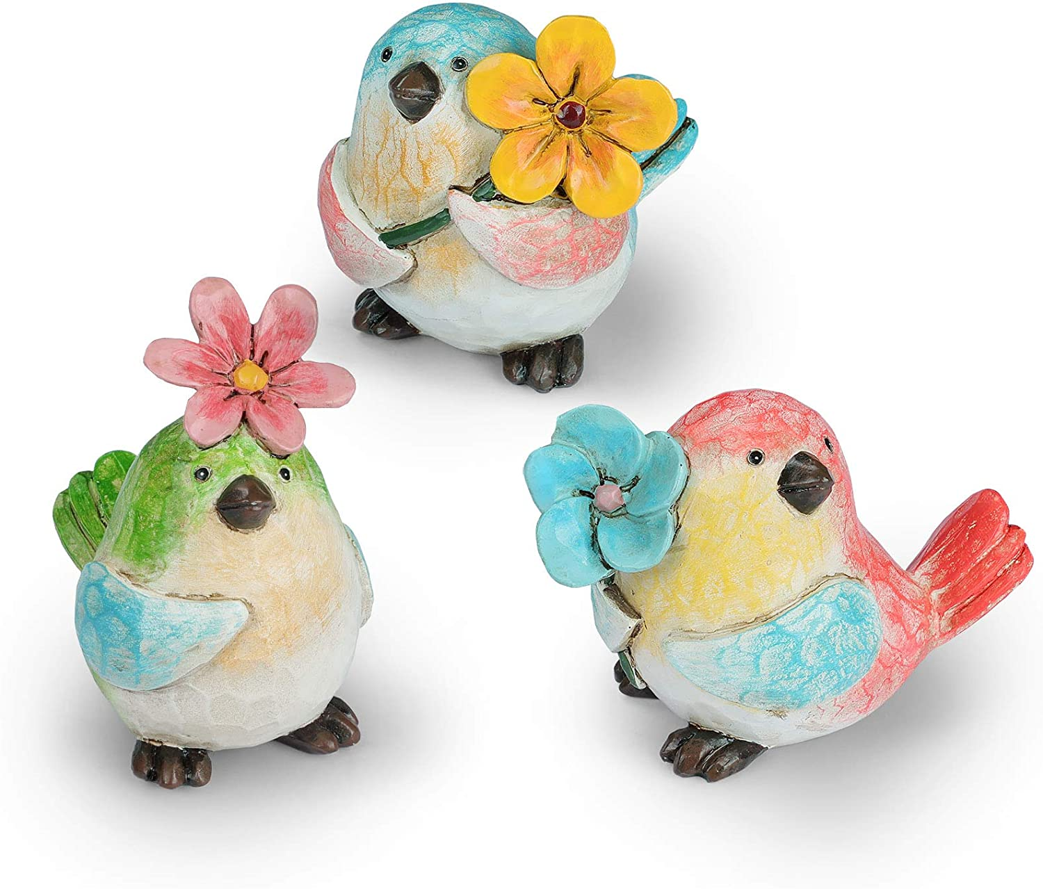 Garden Vivid Birds Figurines Decorations with Flower, Set of 3 Garden Statues, Resin Outdoor Spring Décor and Home Décor (4.25