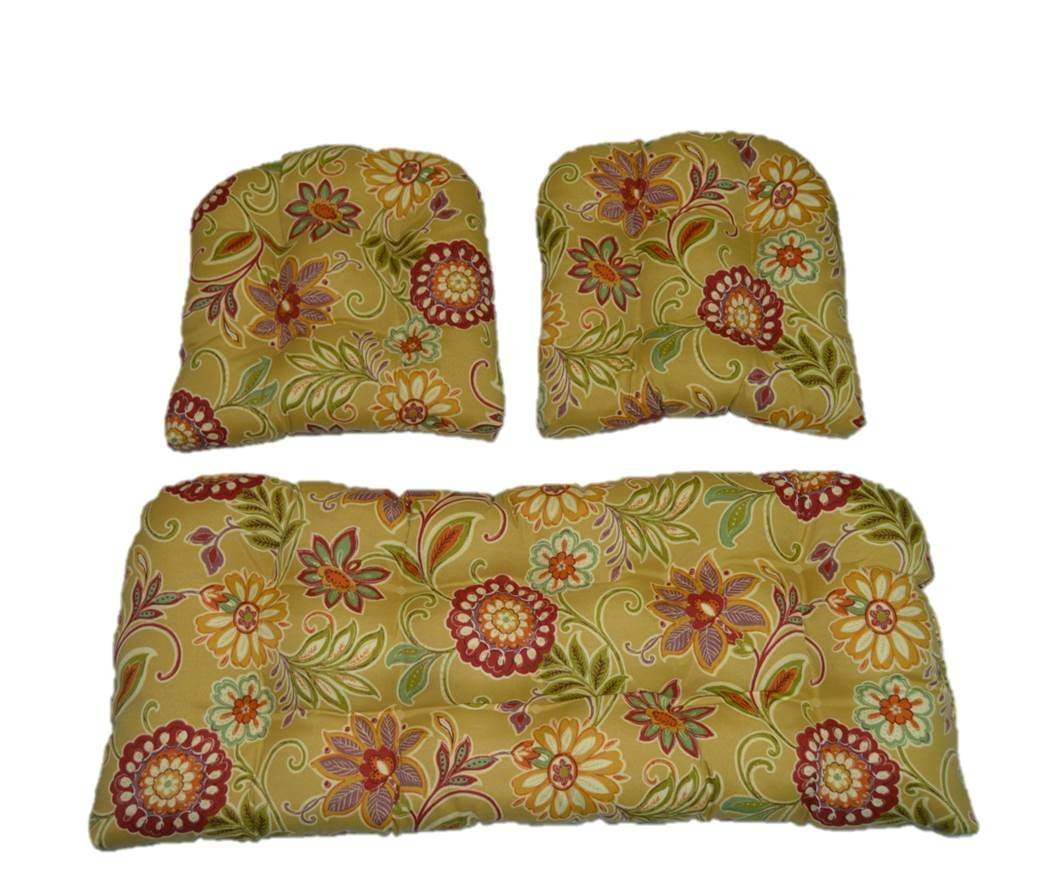 Resort Spa Home Decor 3 Piece Wicker Cushion Set – Tan, Burgundy, Olive Green, Purple, Orange, Teal Floral Scroll Indoor Outdoor Fabric Cushion for Wicker Loveseat Settee 2 Matching Chair Cushions