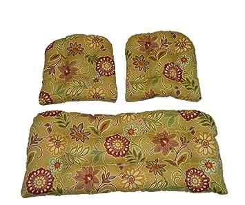 3 Piece Wicker Cushion Set   Tan, Burgundy, Olive Green, Purple, Orange Part 88
