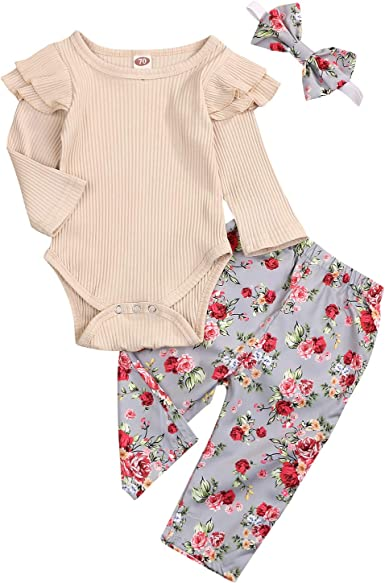 Baby girls floral flowered romper bow suit 457