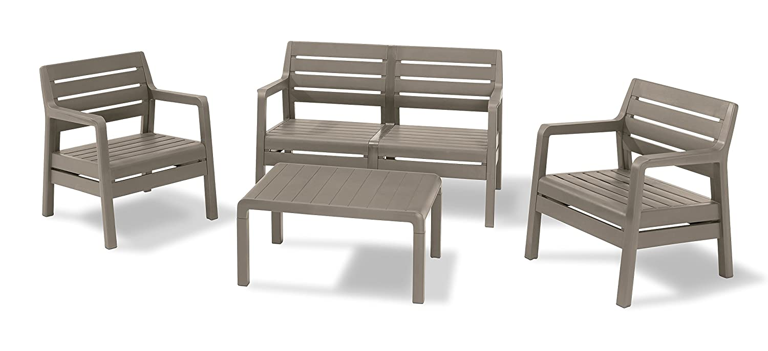 Pleasant Allibert By Keter Delano Outdoor 4 Seater Lounge Garden Furniture Set Cappuccino With Sand Cushions Pabps2019 Chair Design Images Pabps2019Com