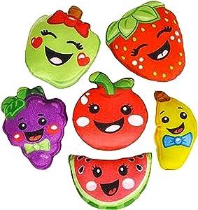 Plush fruit cartoon figures stuffed toys, bulk set of 12.