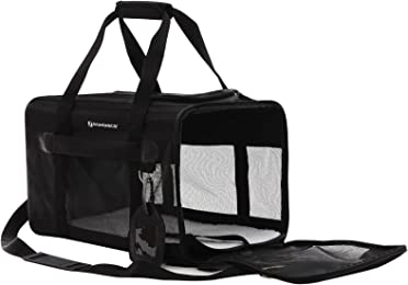 SONGMICS Cat Carrier Soft Sided Pet Carrier with Removable Fleece Bed Black UPPC51H