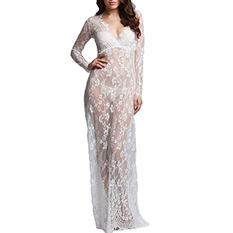 Wispun Women Sexy Deep V Long Sleeve Lace Maxi Dresses See Through Mullet Dress L White