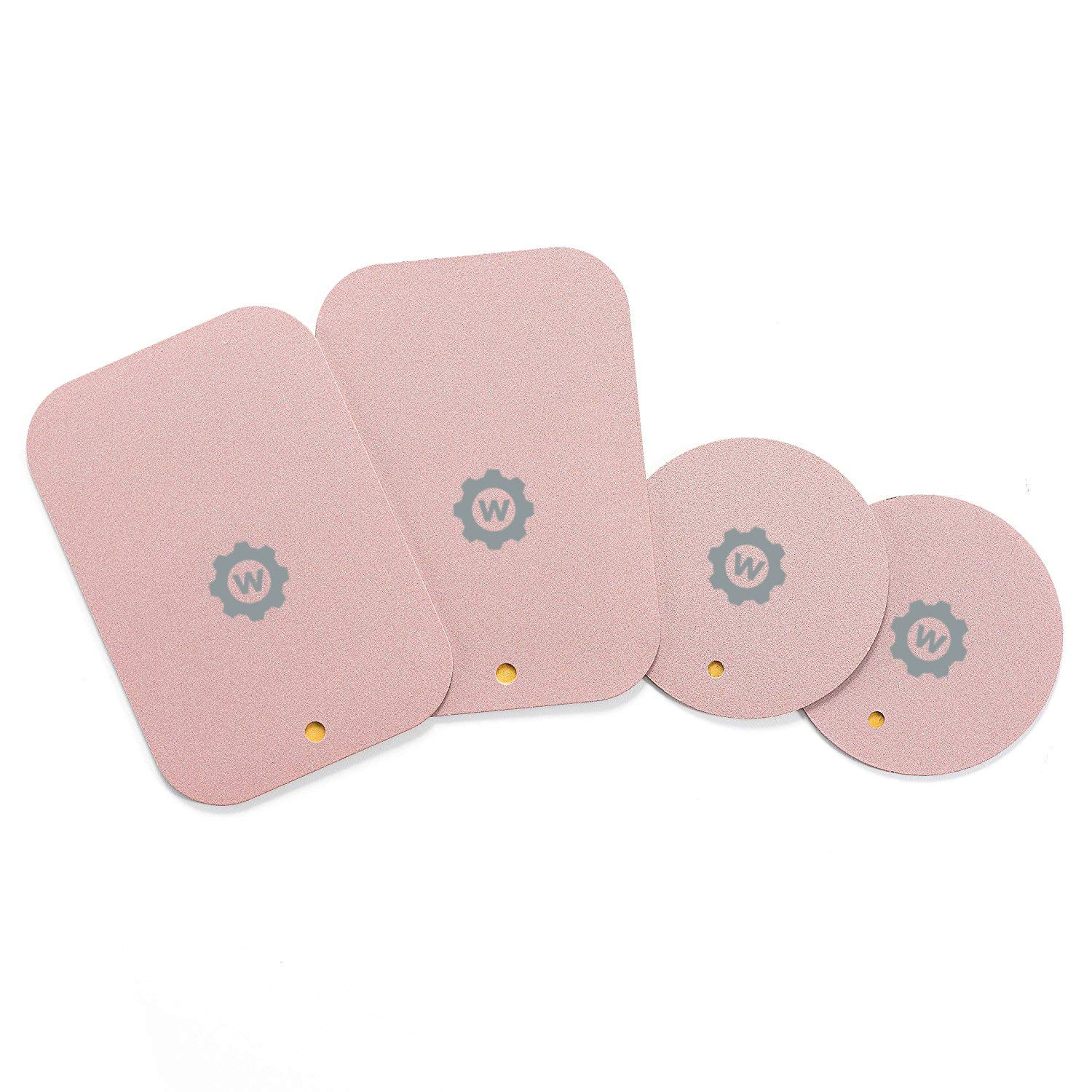 Rose Gold Mount Metal Plate with Adhesive for Magnetic Cradle-Less Mount X4 Pack 2 Rectangle and 2 Round Compatible with WizGear mounts