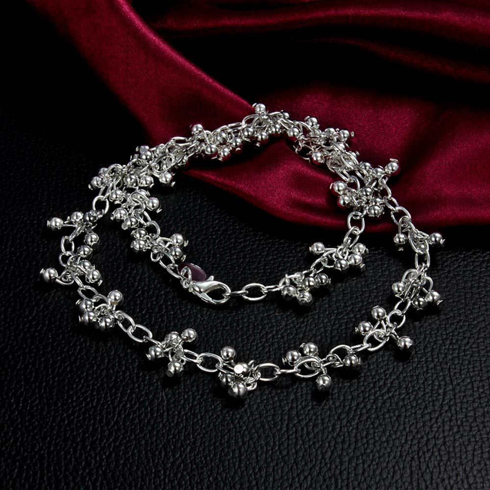 Onefeart Sterling Silver Pendant Necklace Women Ladies Style Glossy Beads Necklace 45CM Silver