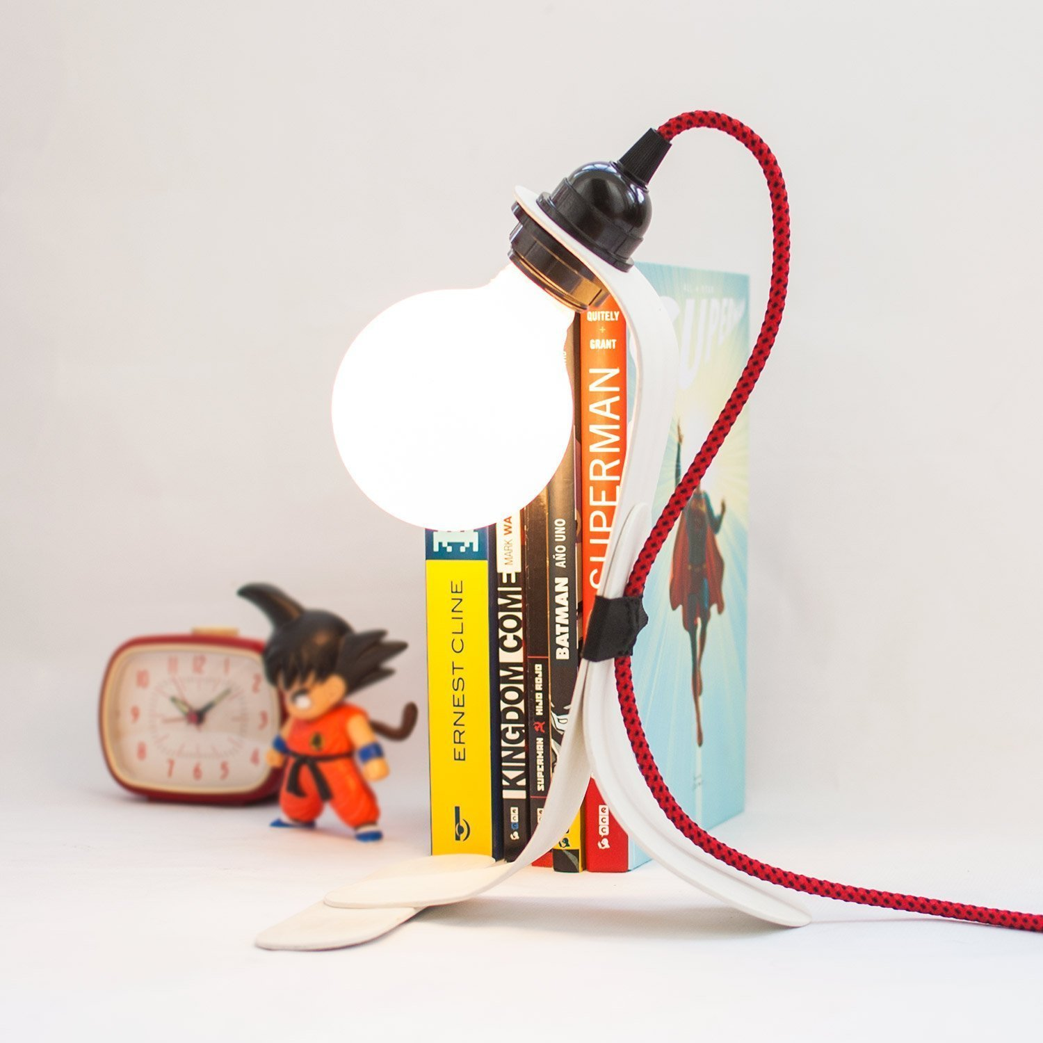 Modern and minimalistic white bedside table lamp Wooden desk reading light