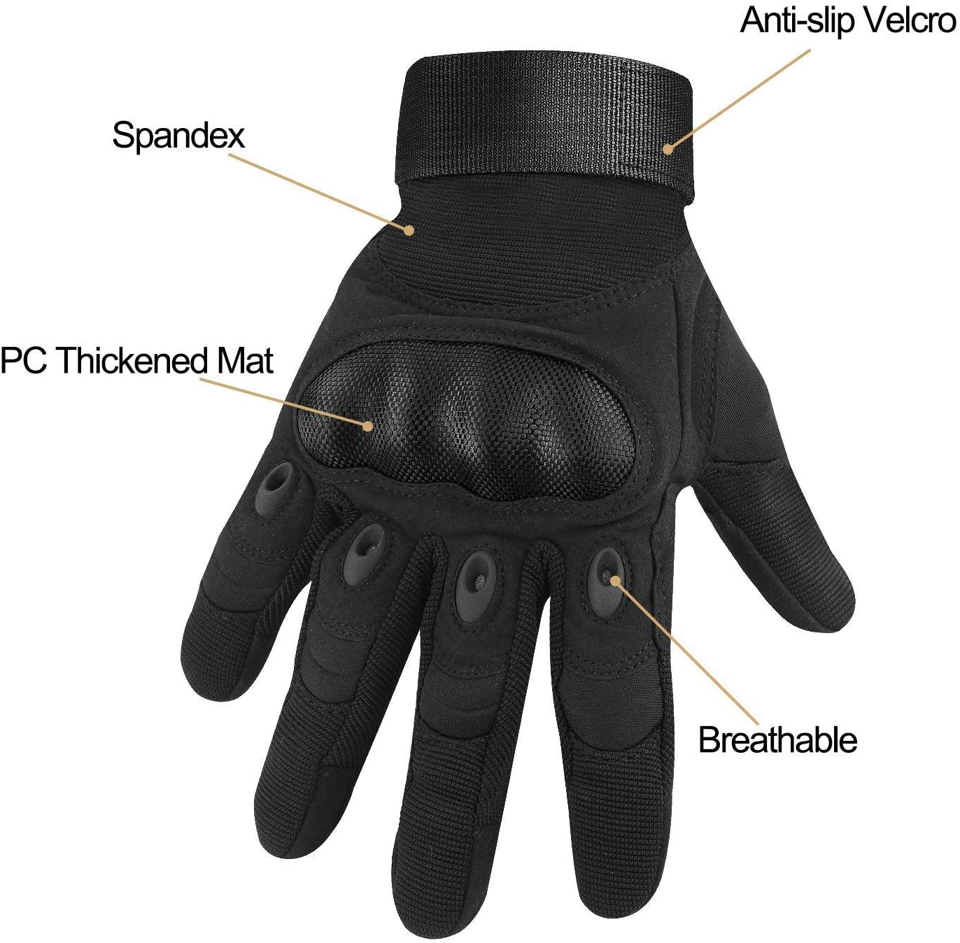 HOMEE Tactical Gloves Touch Screen Military Rubber Hard Knuckle Full Finger Gloves Fit for Cycling Airsoft Paintball Motorcycle Hiking Camping