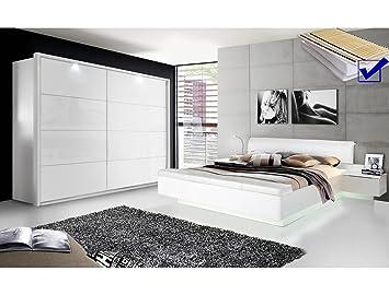 Schlafzimmer Sophie 20B weiß Hochglanz Doppelbett mit 2x ...