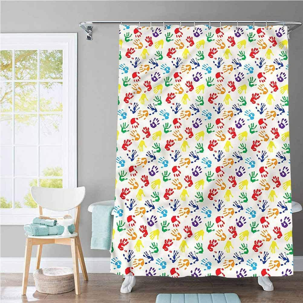 Amazon Com Scottdecor Paint Plastic Shower Curtain Liner Colorful Hand Shapes Kids For Bathroom Showers And Bathtubs 72 X 72 Inch Home Kitchen