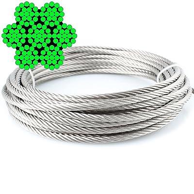 5M de câble métallique 7x 19doux–2,0mm inox A4