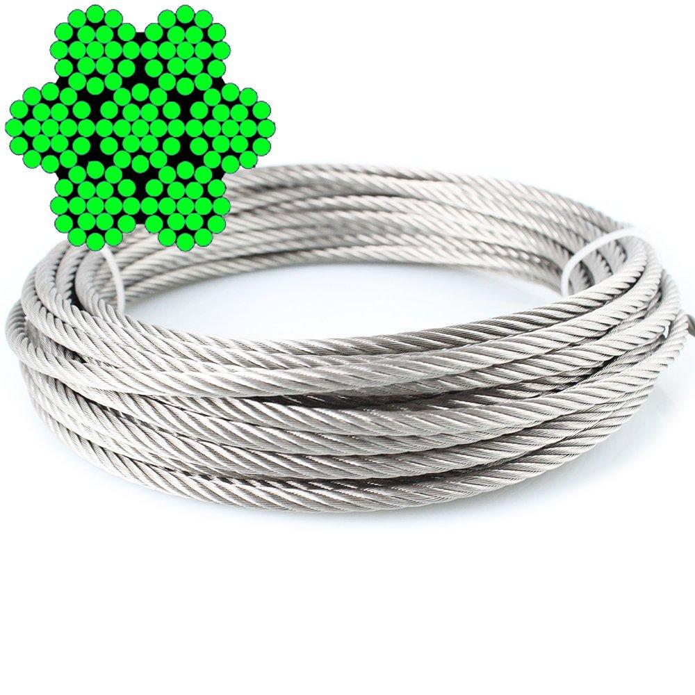 50m de câble métallique 7x 19doux–4, 0mm inox A4 dely trade