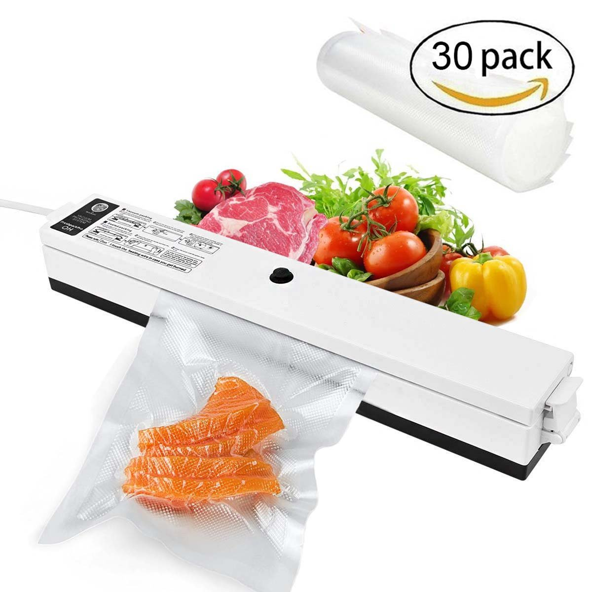 Vacuum Sealer, Rantizon Automatic Vacuum Sealing System with Bags Starter Kit Preserve & Store Food Sealers Compact Design Air Sealing System For Food Preservation Vacuum Packing Machine