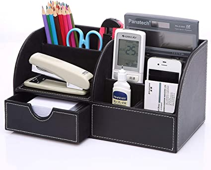 KINGFOM/™ 7 Compartiments en PU Cuir Multi-fonctionnels Organisateur de Bureau