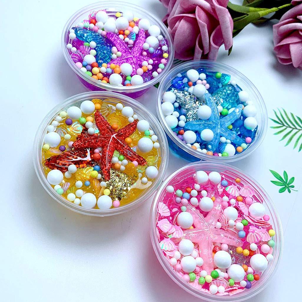 Jinjin Fluffy Slime,Mermaid Tail Charms Fishbowl Mermaid Bubble Bath Slime Toy Gift DIY Soft Slime Toys. (Blue)