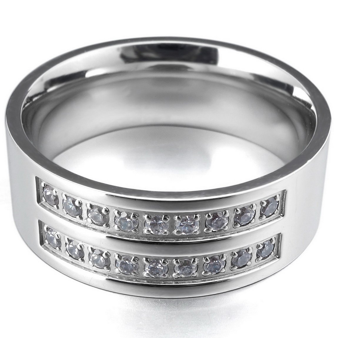 INBLUE Men's 8mm Stainless Steel Ring CZ Silver Tone Comfort Fit Band Wedding Size12 by INBLUE (Image #2)