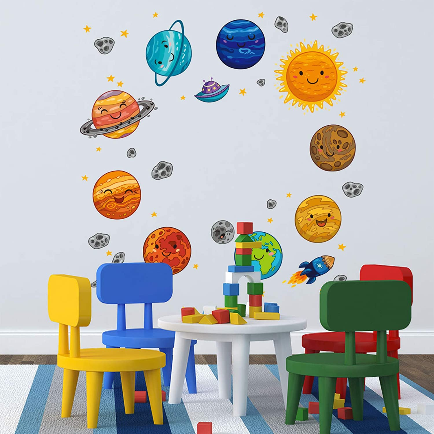 Cartoon Outer Space Wall Decals, HOLENGS Peel and Stick Removable Solar System Wall Stickers, Spaceship Stars and Planet Wall Decor for Kids Boys Explorer Living Room Bedroom Nursery Home Decoration